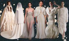 Od wystawnych ozdób do skróconych linii – oto zestawienie najlepszych ślubnych stylizacji, które pojawiły się na wybiegach. Vogue Wedding, Bridesmaid Dresses, Wedding Dresses, Fendi, Fashion, Haute Couture, Bridesmade Dresses, Bride Dresses, Moda