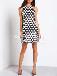Shop Black White Sleeveless Triangle Dress online. SheIn offers Black White Sleeveless Triangle Dress & more to fit your fashionable needs.