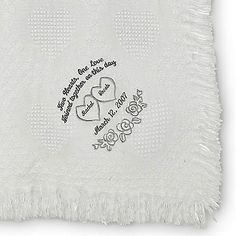 Embroidered White Heart Marriage Throw , Add a Monogram, Name or Initials