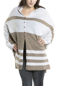 27 Miles Malibu Lexi Stripe Poncho in Moose/Dove