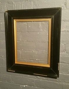 Large Edwardian Antique Ebonised Picture Frame original gold slip black frame