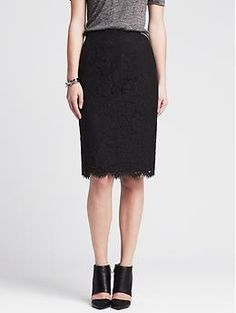 Scalloped Lace Pencil Skirt | Banana Republic- [Size 6] in black (use coupon codes on website, you can get at least 30% sometimes 40% off)