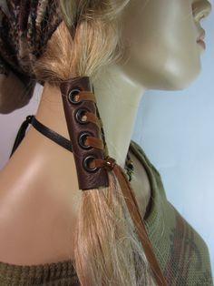 Leather Corset Hair Wrap Ponytail Holder Hair Jewelry BOHO Bohemian Resort  Wear  Brown. $22.00, via Etsy.