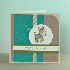 Simple but cute baby card featuring Stampin' Up! Made With Love stamp set, happy hearts embossing folder, and watercolored using an Aqua Painter.