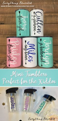 Mini Tumblers are Perfect for the Kids in the Bridal Party! Junior Bridesmaid Gifts, Bridesmaid Boxes, Personalized Bridesmaid Gifts, Bridesmaids, Wedding Day Gifts, Wedding Crafts, Wedding Stuff, Wedding Ideas, Wedding With Kids