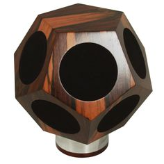 Anonymous; #D-12 Rosewood and Chromed Metal Dodecahedron Omnidirectional Speaker by Design Acoustics, 1970s.