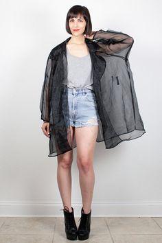 Vintage 80s SHEER Black Jacket Unlined Sheer Mesh Chiffon Trench Coat Oversized Draped Jacket 1980s Kimono Jacket Duster XL Extra Large XXL #vintage #etsy #80s #1980s #sheer #mesh #jacket #duster