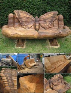 #6. Transform a 600-year-old felled oak tree into a comfy garden bench; the hands holding the butterfly make for pretty cozy sitting:Truly Cool and Low-Budget Garden Decorations Inspired by Butterfly