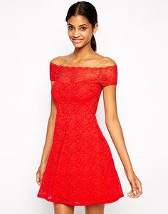 TFNC Bardot Lace Dress With Scallop Neckline