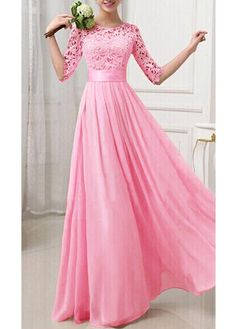 Zipper Closure Half Sleeve Chiffon Dress. Comes in purple, green, blue and pink in my size. Great site and great prices.