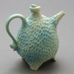thrown and altered tripod teapot with great colour and texture  Roberta Polfus Porcelain
