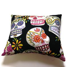 Sugar Skull Day of the Dead Small Pillow on Etsy, $18.00