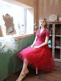 Burgundy V Neck Tulle Lace Beads Short Prom Dress,burgundy Evening Dress on Luulla