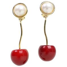 Preowned Valentino Cherry & Pearl Earrings ($295) ❤ liked on Polyvore featuring jewelry, earrings, accessories, gioielli, valentino, multiple, cherry earrings, pearl earrings, pre owned jewelry and vintage earrings
