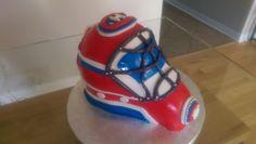 Hockey goalie helmet cake Hockey Goalie, Cake Face, How To Make Cake, Helmet, Home Appliances, Cakes, House Appliances, Cake, Motorcycle Helmet