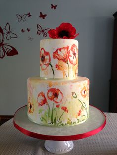 Watercolored Poppy cake