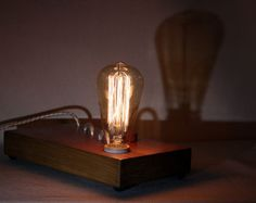 shadow box edison lamp table lamp desk lamp bedside light night light wood lamp edison bulb industrial
