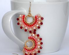 Items similar to Light siam rose Earrings, Drop Dangle Earrings beadwork handmade jewelry, valentine's day gifts, Goldfilled Earring Hook, Romantic Jewel on Etsy Rose Earrings, Diy Earrings, Bridal Earrings, Gemstone Earrings, Earrings Handmade, Seed Bead Earrings, Handmade Jewelry, Gemstone Bracelets, Beaded Earrings Patterns