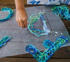 How to Make String Letters with Yarn and Glue - This is a fun and easy Alphabet Craft for kids. It includes alphabet Game Ideas for Kids using the letters. Letter E Craft, Alphabet Crafts, Alphabet Activities, Letter Learning Games, Learning Games For Kids, String Art Letters, Crafts For Kids, Art For Kids, Kids Activity Books