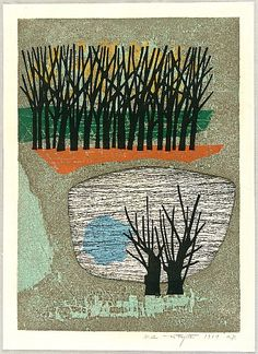 Fumio Fujita born 1933 - Side of a Pond - Mizube - artelino Art Auctions. Japanese Art Modern, Japanese Prints, Aichi, Linocut Prints, Art Prints, Japanese Woodcut, Collage, Japanese Painting, Art For Art Sake