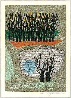 Fumio Fujita born 1933 - Side of a Pond - Mizube - artelino Art Auctions.