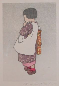 [Young Japanese Girl] (circa by Hiroshi Yoshida (woodblock print) Japanese Prints, Japanese Art, Young Japanese Girls, Hiroshi Yoshida, Art Occidental, Geisha Art, Etching Prints, Cool Art Drawings, Drawing Ideas