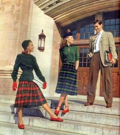 Wonderful plaid skirted 1940s college fashions. #vintage #1940s #fashion