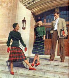 Wonderful plaid skirted 1940s college fashions. #vintage #1940s #fashion