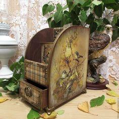 """Купить Настольное бюро"""" Воспоминания"""" - оливковый, клетка, птицы, птицы на ветке, морение, бюро"""