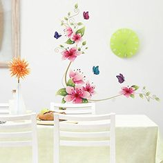 DIY Removable wall stickers wall graphics and wall decals Quote Decal Art Vinyl Wall Sticker Bedroom bathroom tiles with flowers and butterflies LKOUS-HouPro http://www.amazon.com/dp/B00N2XEI00/ref=cm_sw_r_pi_dp_xb3kub1SW16X5