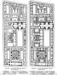 Floor plans of the Nouvelle Sorbonne, Paris