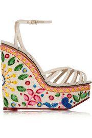Celebration Meredith embellished linen sandals