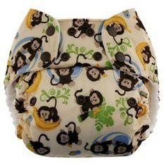 Pannolino lavabile Blueberry One Size Bamboo Pocket in vivace fantasia unisex Monkeys #pannolinilavabili