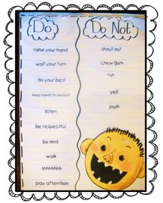 First Grade Wow: Me and My School  Cute anchor chart for beginning of school year for what kids should do in school.