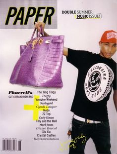 Pharrell and his infamous purple crocodile custom Hermes Oversized Birkin -  He loves it so much 649870057d73a