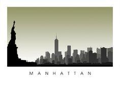 Lower Manhattan Skyline by CartoCreative on Etsy