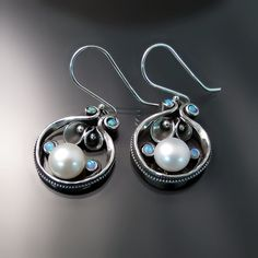 Artisan Jewellery in Silver - pretty earrings with pearls and opalite