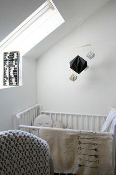 Darling little baby nook- love the arrow blanket! Dark Nursery, Nursery Neutral, White Nursery, Nursery Design, Nursery Decor, Nursery Nook, Baby Nook, White Kids Room, Hanging Crib