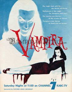 """giclée reproduction of an original 1954 advertisement for The Vampira Show. We're sorry but this item can not ship outside the USA. The """"Vampira's Attic"""" watermark is not printed on the actual image. Famous Monsters, Ad Art, Indie Brands, Attic, Images, Horror, Goth, Glamour, Ship"""