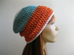 Crocheted Slouchy Beanie Hat Tangerine Turquoise White Stripes Back to School Fall Fashion - Ready to Ship