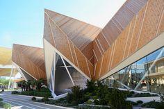 Slovenia pavilion at expo milan 2015 comprises five prismatic volumes