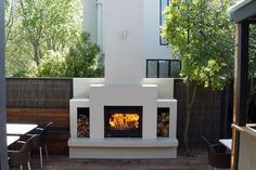 Fantastic Free of Charge electric Outdoor Fireplace Style However very much you actually style the home with this report; it is your outer style and design that will ac. Outdoor Wood Burning Fireplace, Modern Outdoor Fireplace, Outside Fireplace, Outdoor Fireplace Designs, Backyard Fireplace, Wood Burning Fires, Open Fireplace, Outdoor Living, Outdoor Fireplaces
