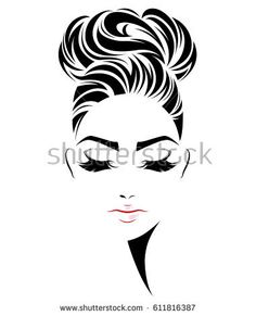 illustration of women bun hair style icon, logo women face on white background, vector