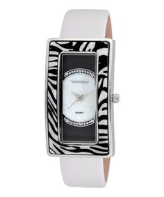 Take a look at this Silver & White Zebra Rectangular Watch by Vernier on #zulily today!