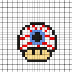 Eyeball Mushroom Perler Bead Pattern