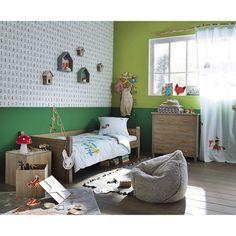 2 étagères maisonnettes en bois grise/verte H 30 et H 35 cm FOREST