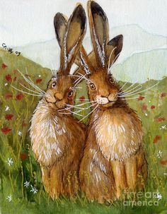 Lovely Rabbits - In Love....by.. Svetlana Ledneva-Schukina     watercolor and mixed media..