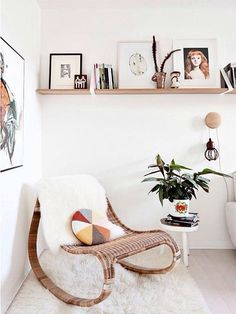 Gorgeous Rattan Chair With White Sheepskin Cover - Love This Little Lounge Corner - It Looks So Cosy!