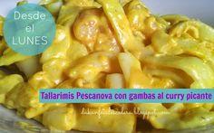 Desde el Lunes: Tallarimis (Pescanova) con gambas al curry picante. dukan facil escalera Salsa Curry, Menu Dieta, Crepes, Macaroni And Cheese, Paleo, Low Carb, Pizza, Vegetables, Eat