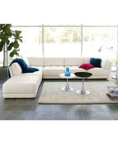 Perfect sectional. White tufted leather. Exactly what I've been looking for!